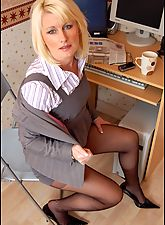 secretary, Saleswoman Erin In Business Suit And Sheer Black Pantyhose