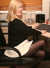 sexy secretaries, Secretary Slut In Dangerously Short Skirt With Stockings