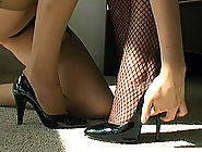 The girls are comparing their spike heels and Rose just has to feel her friend's high stiletto across her leg. Would you not love Nicola to rub you slowly with her sexy thin heel until you can take it no more